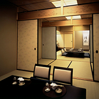 Japanese 6-tatami room for 4 or less, Japanese 8-tatami room for 10 or less, Japanese two rooms with 18-tatami for 20 or less